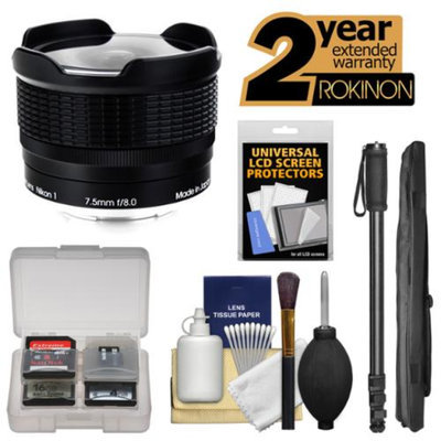 Rokinon 7.5mm f/8.0 RMC Fisheye Lens with Monopod Kit for Nikon Series 1 S1, S2, J1, J2, J3, J4, V1, V2, V3, AW1 Digital Cameras