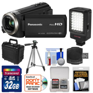 Panasonic HC-V550K HD Wi-Fi Video Camera Camcorder with 32GB Card + LED Video Light + Hard Case + Tripod + Accessory Kit