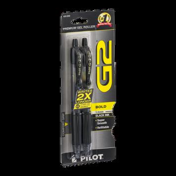 Pilot G2 Premium Gel Roller Pens Bold 1.0mm Black Ink - 2 CT