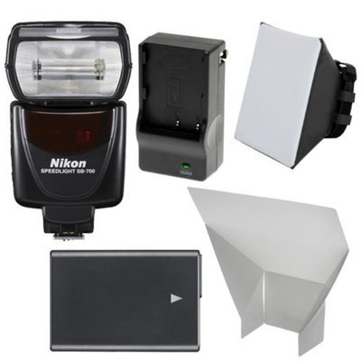 Nikon SB-700 AF Speedlight Flash with EN-EL14 Battery & Charger + Softbox + Reflector for D3100, D3200, D3300, D5100, D5200, D5300 Digital SLR Camera