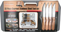 Mr. Bar-b-q 22 Piece Gourmet Stainless Steel Grilling Tool Set