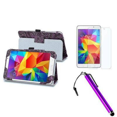 Insten INSTEN Purple Flower Leather Stand Case+Screen Protector+3.5mm Stylus Pen For Samsung Galaxy Tab 4 7.0 7 SM-T230 Tablet