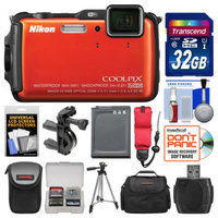 Nikon Coolpix AW120 Shock & Waterproof Wi-Fi GPS Digital Camera (Orange) with 32GB Card + Cases + Battery + Tripod + Strap + Handlebar & Helmet Mount Kit