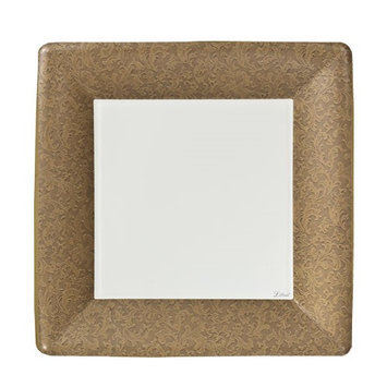 King Zak Ind Lillian Tablesettings 23075 Gold Texture 7 in. Square Dinner Paper Plates - 576 Per Case