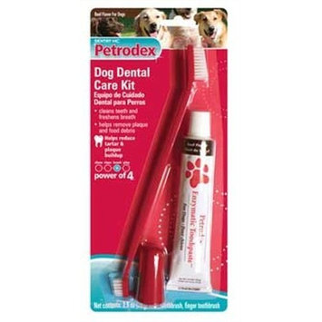 Petrodex Dog Dental Care Kit, Toothpaste with 2 Toothbrushes
