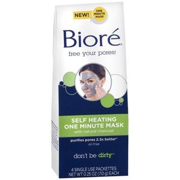 Biore Charcoal Self Heating Mask - 4 count