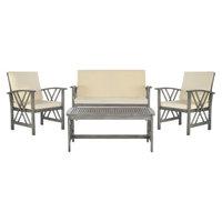 Safavieh Mykonos 4-Piece Wood Patio Conversation Furniture Set - Grey