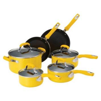 Guy Fieri Nonstick Aluminum 10 Piece Cookware Set Yellow