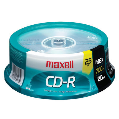 Maxell 648445 CD-R 25 Pack With Spindle