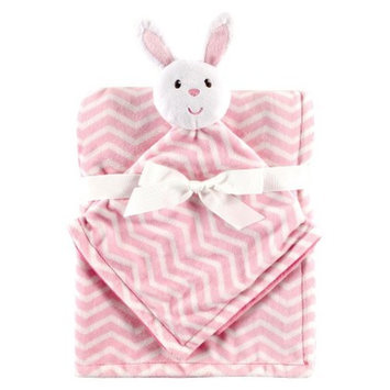 Hudson Baby Baby Plush Blanket & Security Blanket with Gift Ribbon - Pink Bunny
