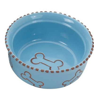 Ethical Pet Products (Spot) DSO6902 Terra Cotta Stoneware Dog Dish, 5-Inch, Blue