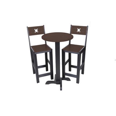 Bar Commercial Grade Bistro Set, Black/Brown