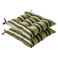 Pillow Perfect Outdoor 2-Piece Tufted Chair Cushion Set - Brown/Green Stripe