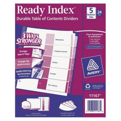 Avery Ready Index Table/Contents Dividers, 5-Tab, Letter- Assorted