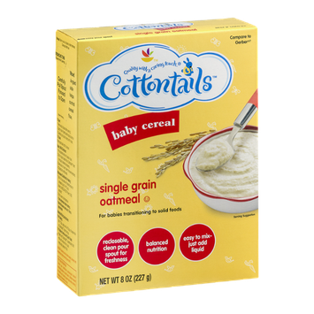 Cottontails Baby Cereal Single Grain Oatmeal