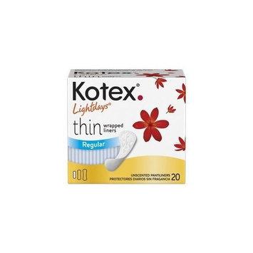 Kimberly-clark 20 Kotex LIGHTDAYS Thin Pantiliner - REGULAR ~ Individually Wrapped