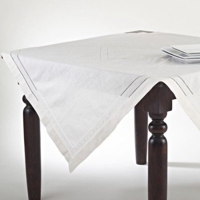 Saro Embroidered and Hemstitched Linen-blend Table Topper