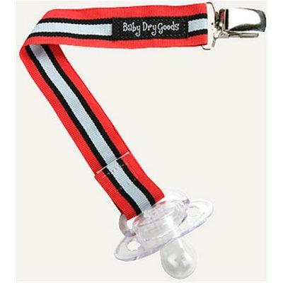 Baby Dry Goods 03034 Lt BlueRedBlack Stripes Pacifier Clip