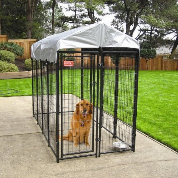 Lucky Dog Uptown Welded Wire Box Kennel - Black with Gray Cover (6'Hx4'Wx8'L)