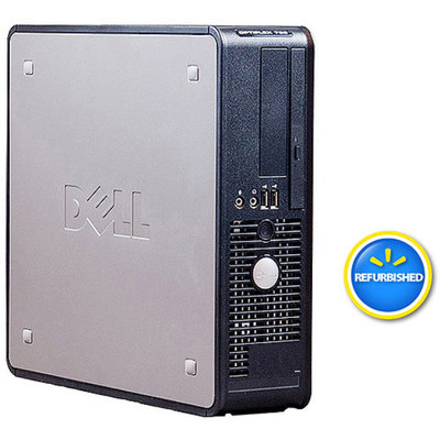 Optiplex Dell Pre-Owned, Refurbished Black/Silver 760 Small Form Factor Desktop PC with Intel Dual-Core Processor, 4GB Memory, 160GB Hard Drive and Windows 7 Home Premium (Monitor Not Included)
