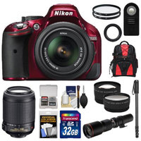 Nikon D5200 Digital SLR Camera & 18-55mm G VR DX AF-S Zoom Lens (Red) with 55-200mm VR + 500mm Telephoto Lens + 32GB Card + Backpack + Tele/Wide Lenses + Monopod + Accessory Kit