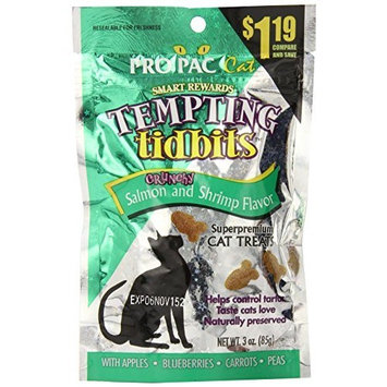 PRO PAC Tempting Tidbits Crunchy Salmon and Shrimp Cat Treat, 3-Ounce Bag