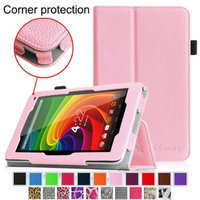 Fintie Toshiba Excite 7c AT7-B8 7-Inch Tablet Folio Case - Premium Vegan Leather Cover with Stylus Holder, Pink