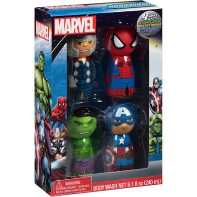 MARVEL HEROES-MARVEL Marvel Super Scents Body Washes Bath Gift Set, 4 pc