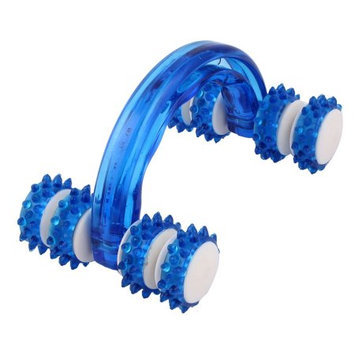Blue Hand-held Thigh Body Cellulite Control Health Beauty Wheel Roller Massager