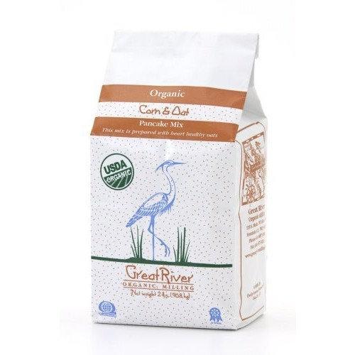 Great River Organic Milling Organic Corn & Oat Pancake Mix, 2 Pound Bags (Pack of 4)