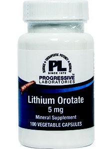 Progressive Labs, Lithium Orotate 5mg 100 vegcaps
