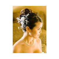 Outlet WHITE Bridal Feather Hair Piece Accent with Crystals