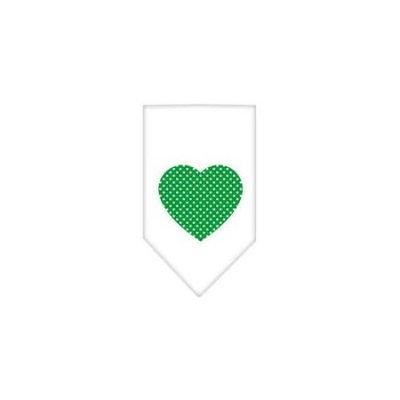 Ahi Green Swiss Dot Heart Screen Print Bandana White Large