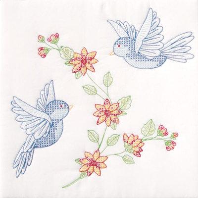 Jack Dempsey Birds Stamped White Quilt Blocks, 18