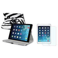 Insten INSTEN White/Black Zebra 360 Leather Case Cover+Matte Protector For Apple iPad Air 5 5th Gen