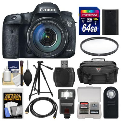 Canon EOS 7D Mark II GPS Digital SLR Camera & EF-S 18-135mm IS STM Lens with 64GB Card + Case + Flash + Battery + Tripod + Filter + Remote Kit