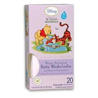 Disney Baby WINNIE THE POOH Daily Renewal Naturals® Baby Washcloths Lavender and Chamomile, One 20-ct Box