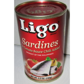 Ligo Sardines in Tomato Sauce with Chili Added (Spicy) - 5.5oz Pack of 6