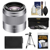 Sony Alpha NEX E-Mount 50mm f/1.8 OSS Lens (Silver) with NP-FW50 Battery + Tripod + 3 Filters Kit for A7, A7R, A7S, A3000, A5000, A5100, A6000 Cameras