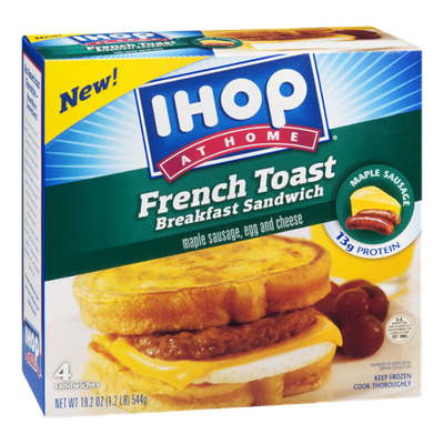 IHOP At Home French Toast Breakfast Sandwich Maple Sausage, Egg & Cheese - 4 CT
