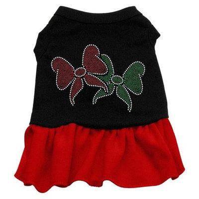Mirage Pet Products 58-36 XXXLBKRD Christmas Bows Rhinestone Dress Black with Red XXXL - 20