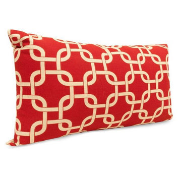 Majestic Home Goods 1 Red Links Uv Protected Outdoor Accent Pillow