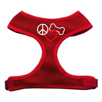 Mirage Pet Products 7017 LGRD Peace#44; Love#44; Bone Design Soft Mesh Harnesses Red Large