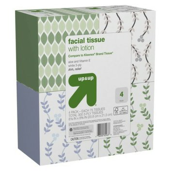 up & up Facial Tissue with Lotion 4 pk 75 ct each