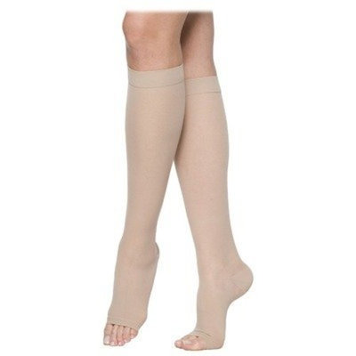 Sigvaris 770 Truly Transparent 20-30 mmHg Women's Open Toe Knee High Sock Size: Small Long, Color: Natural 33