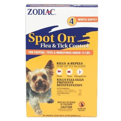 Zodiac Spot on Flea & Tick Control for Dogs Under 15 Pounds, 4-Month Supply