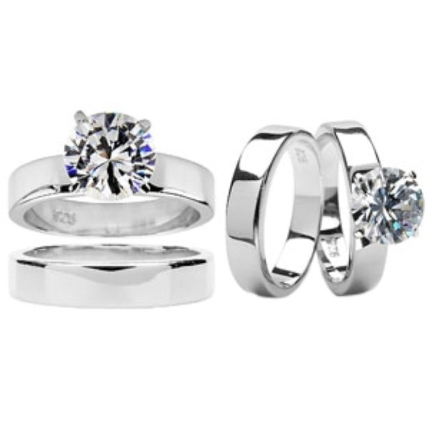 Emitations Ashlynn's Polished CZ Solitaire Wedding Ring Set