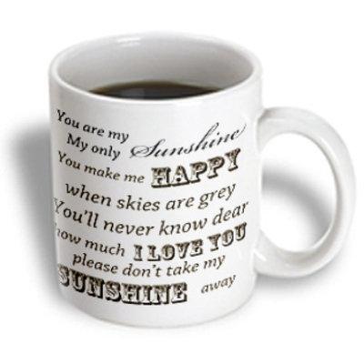 Recaro North 3dRose - PS Vintage - You Are My Sunshine- Word Art- Vintage Song - 15 oz mug