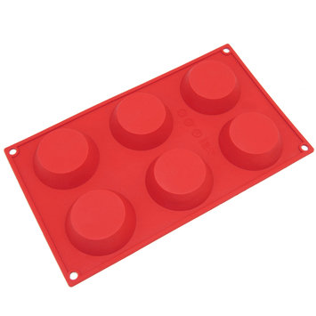 Freshware 6-Cavity Silicone Pudding, Cheesecake, Tart and Muffin Mold - Red