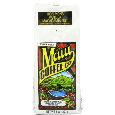 Maui Coffee Company 100% Kona Vanilla Macadamia Nut Coffee (Whole Bean), 7-Ounces (Pack of 2)